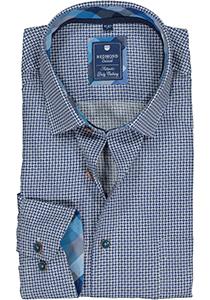 Redmond regular fit overhemd, poplin, blauw met wit en grijs dessin (contrast)