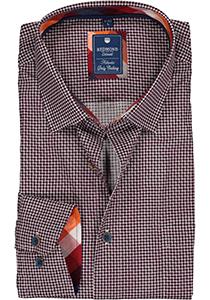 Redmond regular fit overhemd, poplin, bordeaux met blauw en wit dessin (contrast)