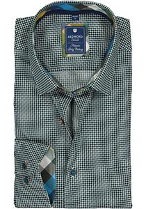 Redmond regular fit overhemd, poplin, groen met blauw en wit dessin (contrast)
