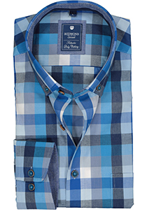 Redmond regular fit overhemd, poplin, blauw met grijs en wit geruit (contrast)