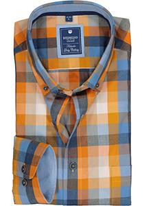 Redmond regular fit overhemd, poplin, blauw met oranje geruit (contrast)