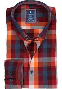 Redmond regular fit overhemd, blauw met bordeaux en oranje geruit (contrast)