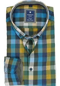 Redmond regular fit overhemd, blauw met groen geruit (contrast)