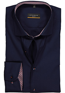 ETERNA Slim Fit overhemd, donkerblauw stretch (contrast)