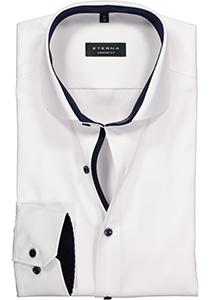 ETERNA Comfort Fit overhemd ondoorzichtig, wit twill (blauw contrast)