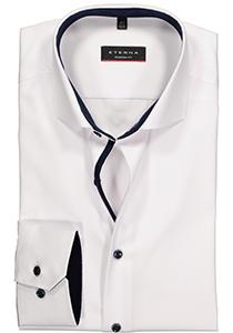 ETERNA modern fit overhemd, niet doorschijnend twill heren overhemd, wit (donkerblauw contrast)