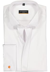 ETERNA Slim Fit overhemd, dubbele manchet, wit twill niet doorschijnend
