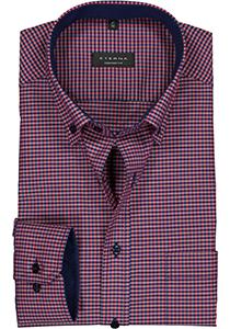 ETERNA comfort fit overhemd, poplin heren overhemd, rood met blauw geruit (contrast)