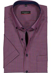 Eterna Modern Fit overhemd, korte mouw, blauw met rood geruit (contrast)