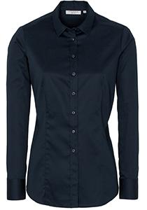 ETERNA dames blouse slim fit, stretch satijnbinding, marine blauw