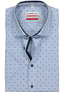 MARVELIS Modern Fit overhemd, korte mouw, lichtblauw mini ruitje (contrast)