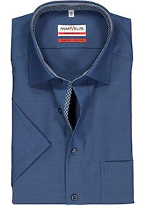 MARVELIS Modern Fit overhemd, korte mouw, blauw structuur (contrast)