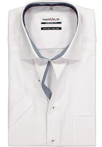 MARVELIS Comfort Fit overhemd, korte mouw, wit (blauw contrast)