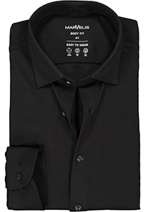MARVELIS jersey body fit overhemd, zwart tricot