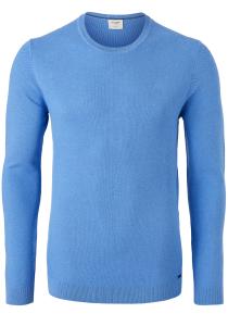 OLYMP Level 5 body fit trui katoen, O-hals, kobalt blauw structuur
