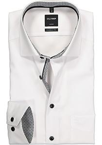 OLYMP Luxor modern fit overhemd, mouwlengte 7, wit (zwart contrast)