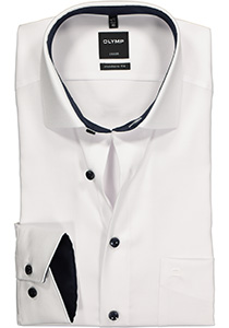 OLYMP Luxor Modern Fit overhemd, wit natte (contrast)
