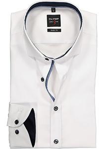 OLYMP Level 5 body fit overhemd, wit (blauw contrast)