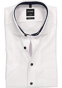OLYMP Luxor modern fit overhemd, korte mouw, wit structuur (contrast)