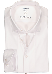 OLYMP No. Six 24/Seven super slim fit overhemd, wit tricot