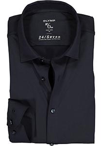 OLYMP No. Six 24/Seven super slim fit overhemd, marine blauw tricot