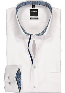 OLYMP Luxor Modern Fit overhemd mouwlengte 7, wit tricot (contrast)
