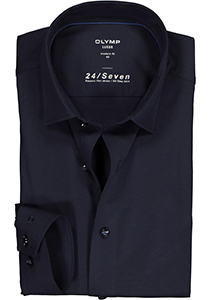 OLYMP Luxor Modern Fit overhemd 24/7, marine blauw tricot
