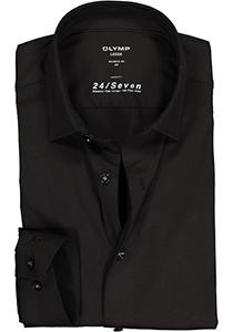 OLYMP Luxor Modern Fit overhemd 24/7, zwart tricot