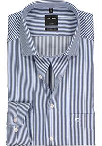 OLYMP Luxor modern fit overhemd, marine blauw met wit gestreept