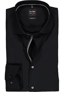 OLYMP Level 5 body fit overhemd, zwart  (contrast)