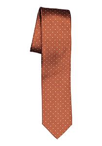 OLYMP smalle stropdas, roestbruin met wit gestipt