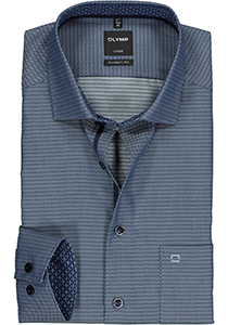 OLYMP Luxor modern fit overhemd, 2-ply structuur, donkerblauw (contrast)