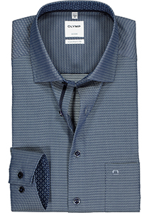 OLYMP Luxor comfort fit overhemd, donkerblauw 2-ply structuur (contrast)