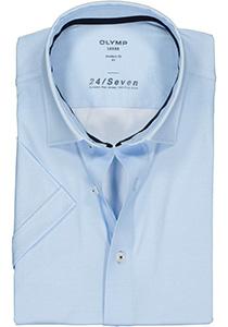 OLYMP Luxor 24/Seven modern fit overhemd, korte mouw, lichtblauw tricot mini dessin