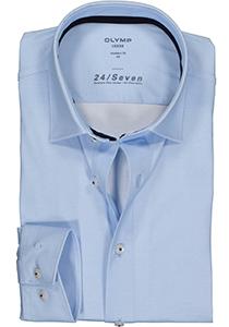 OLYMP Luxor 24/Seven modern fit overhemd, lichtblauw tricot structuur (contrast)