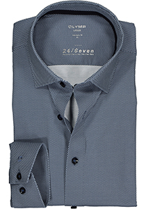 OLYMP Luxor 24/Seven modern fit overhemd, donkerblauw tricot structuur (contrast)