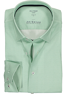 OLYMP Luxor 24/Seven modern fit overhemd, groen tricot structuur (contrast)