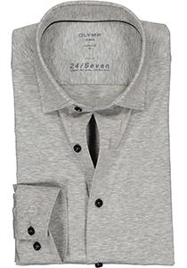 OLYMP Luxor 24/Seven modern fit overhemd, zilvergrijs tricot