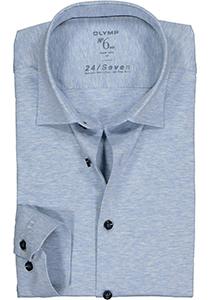 OLYMP No. Six 24/Seven super slim fit overhemd, tricot, lichtblauw