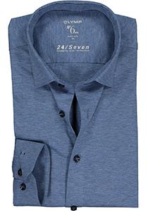 OLYMP No. Six 24/Seven super slim fit overhemd, tricot, middenblauw