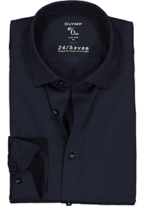 OLYMP No. Six 24/Seven super slim fit overhemd, tricot, marine blauw