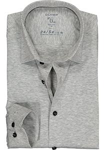 OLYMP No. Six 24/Seven super slim fit overhemd, tricot, grijs