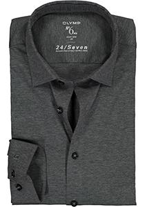 OLYMP No. Six 24/Seven super slim fit overhemd, tricot, antraciet grijs
