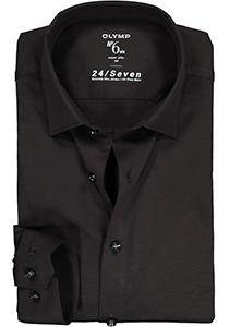 OLYMP No. Six 24/Seven super slim fit overhemd, tricot, zwart