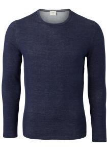 OLYMP Level 5 body fit trui katoen, O-hals, marine blauw
