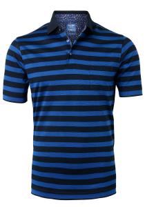 OLYMP modern fit poloshirt, blauw gestreept (contrast)