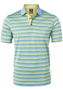 OLYMP modern fit poloshirt, blauw, groen en geel gestreept