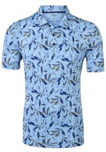 OLYMP modern fit poloshirt, linnen stretch, blauw met beige dessin