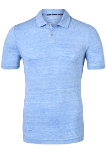 OLYMP Level 5 body fit poloshirt, linnen stretch, blauw