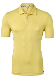 OLYMP Level 5 body fit poloshirt, linnen stretch, geel